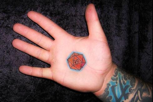 D20 Hand Tattoo