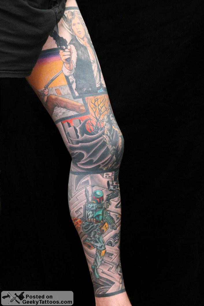 Amazing comic book star wars leg sleeve geeky tattoos for Star tattoos on leg