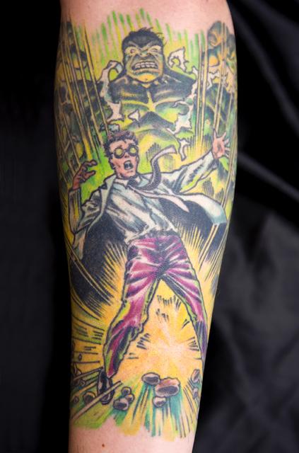 Incredible Sleeve Tattoo: The Incredible Hulk And Robert Bruce Banner Tattoo @ Geeky