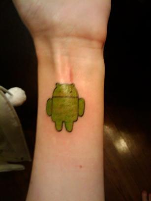 tattoo robot. Android robot on