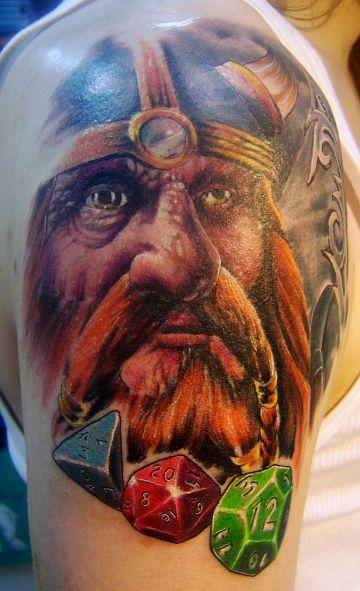 Dwarf And Dice Tattoo Geeky Tattoos