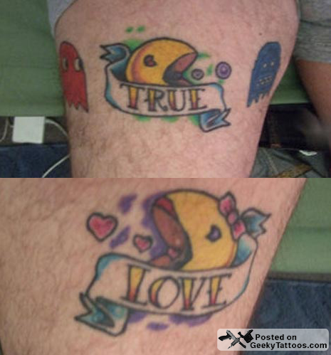 Couples Tattoos on The Best Pac Man Tattoos Ever   Geeky Tattoos