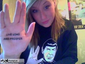 Vulcan Hand Tattoo