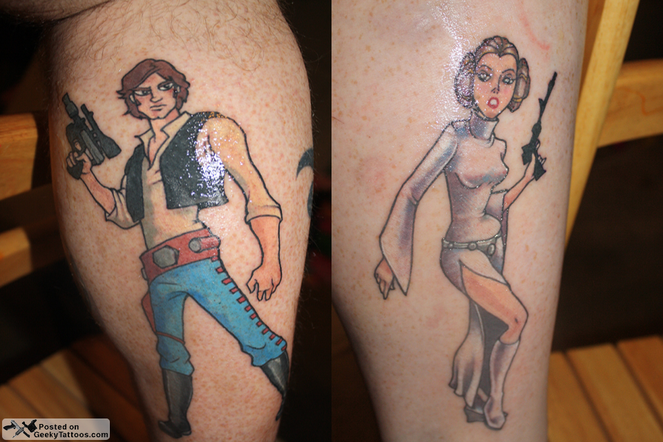 matching han and leia tattoos geeky tattoos