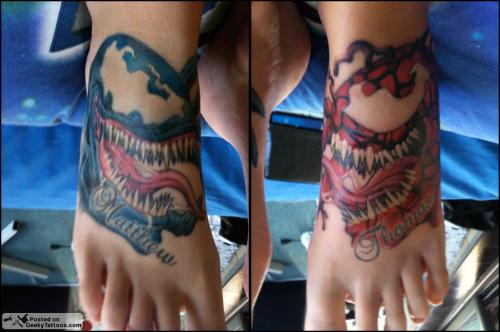 Spider Man Venom Carnage Tattoo: Carnage And Venom Foot Tattoos @ Geeky Tattoos