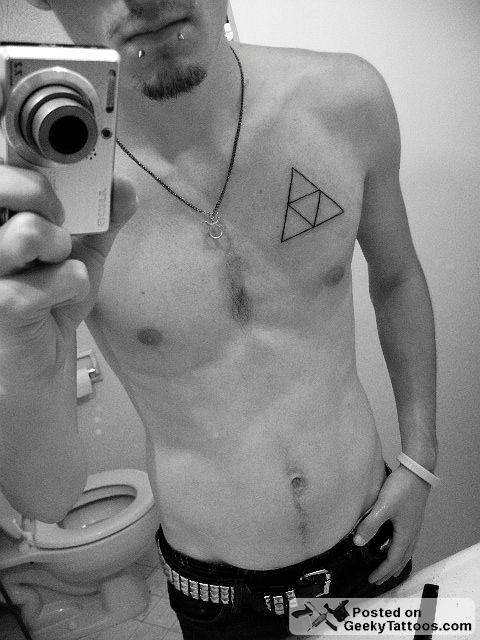 triforce tattoo. triforce tattooed on them.