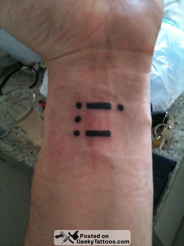 Morse code tattoo