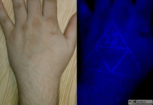 Triforce ultra violet tattoo geeky tattoos for Triforce hand tattoo