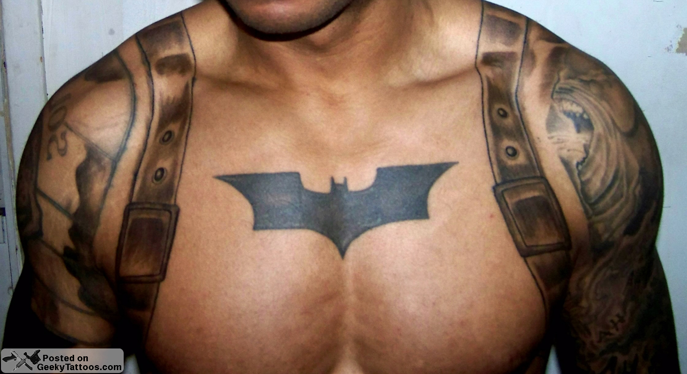 Batman-Chest-tattoo-2 @ Geeky Tattoos