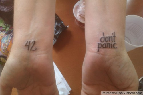 Alice in Wonderland/Hitchhikers Guide tattoos