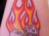 Dice in orange flames