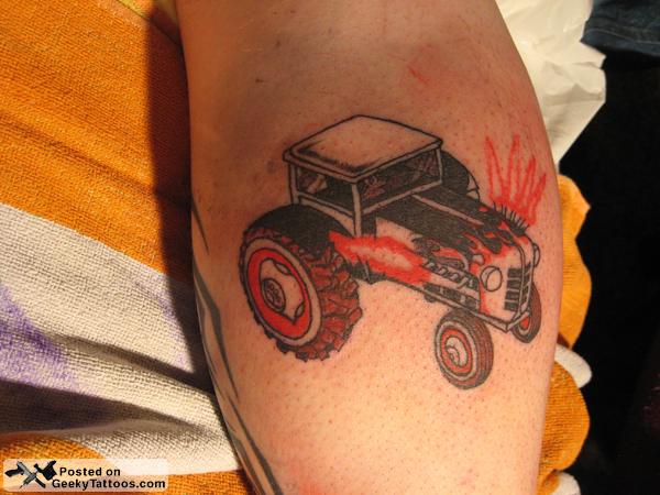 Farmville Hot Rod Tractor Tattoo