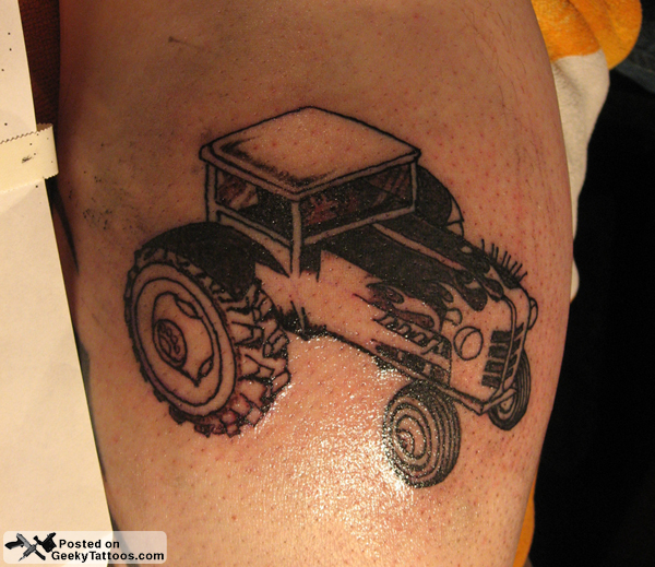 Farmville hot rod tractor tattoo geeky tattoos for Tattoo supply los angeles