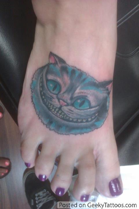 Alice and wonderland foot tattoos